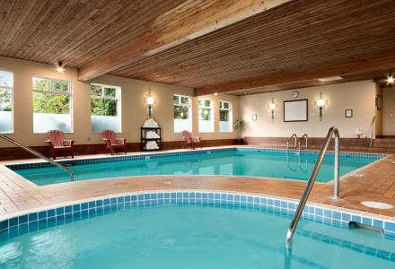 Heated indoor pool with hot tub, open daily from 7:00am - 10:00pm.