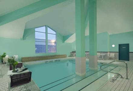 Indoor heated saltwater pool and hot tub.