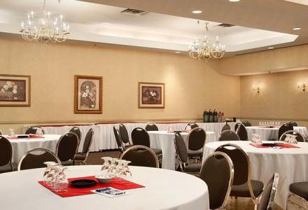 8,000 sq feet of function space, including 13 meeting rooms.  On-site catering and audio/visual services available.