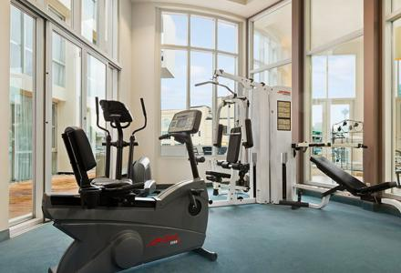 Onsite fitness facility, open daily from xx - xx.