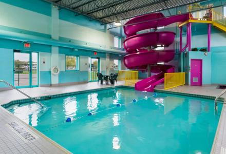 The waterslide is open Fridays 6PM-9PM, Saturdays 10AM-8PM, and Sundays 10AM-1PM. The Outdoor Pool is open from 6AM - 10PM daily