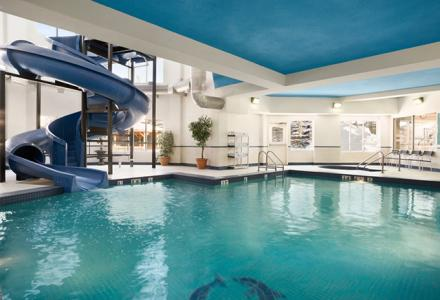 Indoor pool and water slide, open daily from 8:00 am - 10:00 pm.