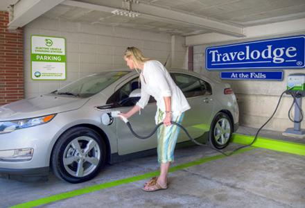 Onsite electric vehicle charging station, available free of charge for all guests, and to non-guests at a small fee.