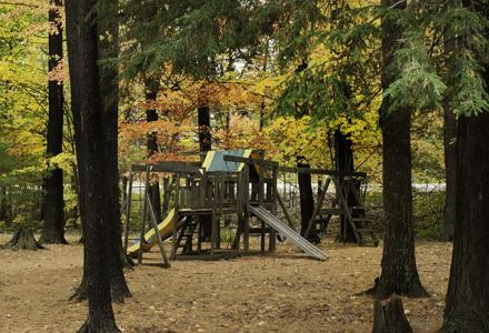 Beautiful park area with playground and picnic tables.