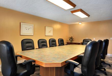 Our boardroom can accommodate small groups of up to 12 people.