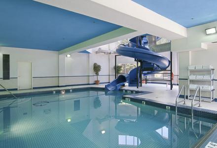 Indoor saltwater pool and waterslide, open daily from 8:00am - 10:00pm.