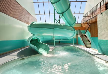 Guests will love the indoor pool with 250 foot waterslide!